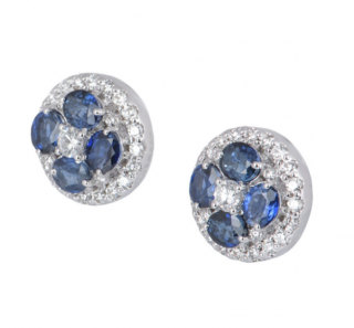 Bespoke White Gold Diamond & Sapphire Floral Earrings