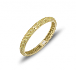 Bespoke Yellow Diamond Set Yellow Gold Hinged Bangle