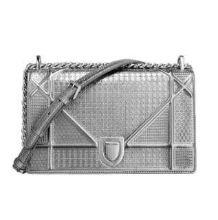 Dior Metallic Silver Diorama Bag in Micro-Cannage Calfskin