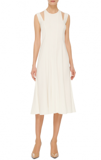 Tome White Godet Crepe Midi Dress