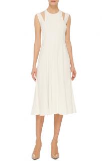 Tome White Godet Crepe Midi Dress