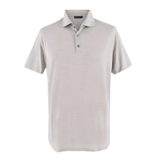 Daniel Liguori Grey Cotton Silk Blend Tailored Polo T-Shirt