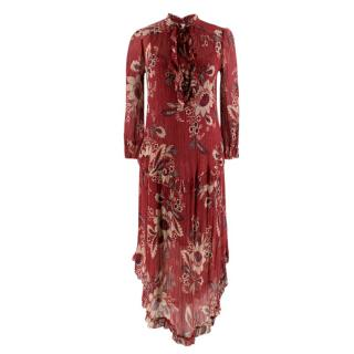 Zimmermann Maroon Ruffled Floral Print Silk Dress