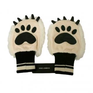 Dolce & Gabbana Faux Fur Knit Paw Gloves