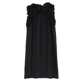 Maje Black Silk Sleeveless dress with Ruffled Detail