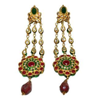 Basia Zarzycka Ruby & Emerald Drop Earrings