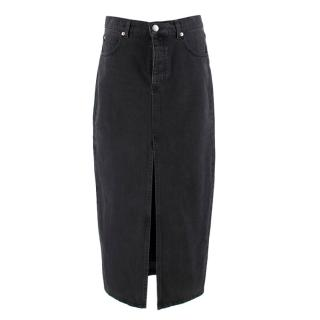 Raey Slit-front Denim Maxi Pencil Skirt in Black