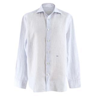 Donato Liguori white & blue pinstripe bespoke tailored shirt