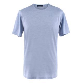 Donato Liguori Blue Cotton & Silk Tailored T-shirt
