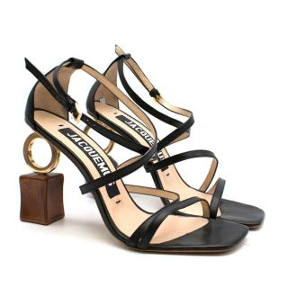 Jacquemus Abstract Heel Strappy Black Sandals