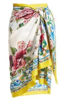 Dolce & Gabbana Majolica Floral Print Wrap Scarf/Sarong