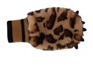 Dolce & Gabbana leopard print faux fur paw gloves