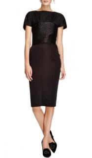 Nina Ricci Black Satin Bustier Fitted Dress