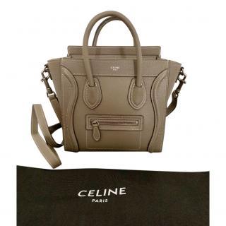 Celine Stone Grey Nano Luggage Tote Bag