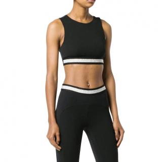 NO KA 'OI Glitter Stripe Crop Top in Black