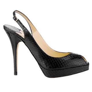 Jimmy Choo Black Glossy Elaphe Snakeskin Slingback Sandals