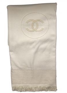 Chanel Cream CC Fringed Beach Towel