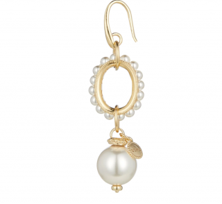 Soru Faux Pearl Gold Plated Drop Earrings