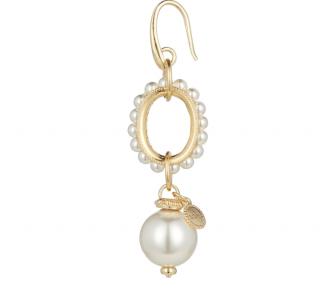 Soru Faux Pearl Gold Plated Drop Earrings