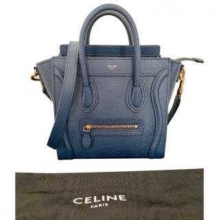 Celine Deep Blue Calfskin Nano Luggage Tote