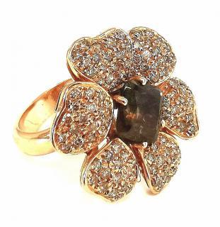 Bespoke Smokey Quartz Diamond Floral Ring