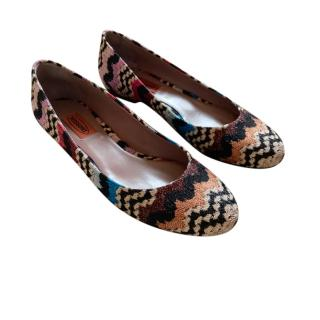Missoni Metallic Knit Ballerina Flats