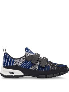 Prada men's geometric knit sneakers