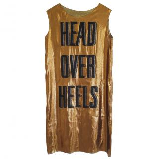 Lanvin Gold Silk Blend Head Over Heels Sleeveless Dress