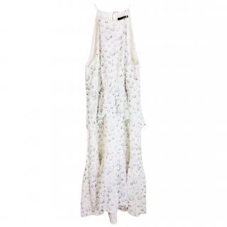 Tibi White Printed Tiered Sleeveless Dress