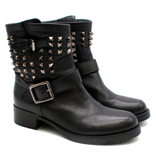 Valentino Black Leather Rockstud Biker Boot