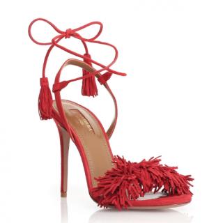 Aquazzura Red Suede Wild Thing Sandals