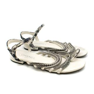 Chanel White Tweed Chain Draped Flat Sandals