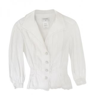 Chanel White Pleated Fitted Blouse