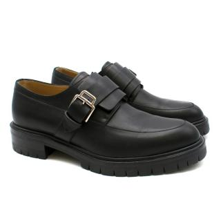 Hermes Black Leather Chunky Platform Loafers