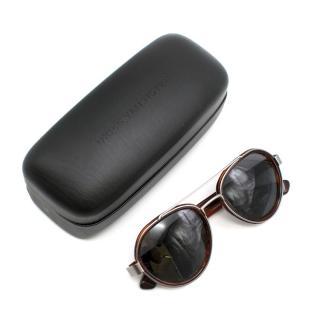 Dries Van Noten Round Tortoiseshell Aviator Sunglasses