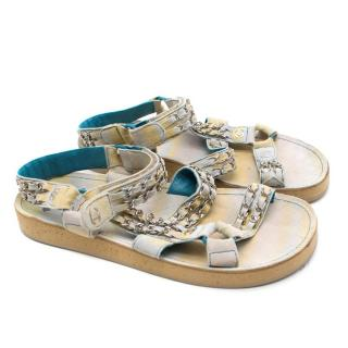 Chanel White & Blue Suede Chain Strap Sandals