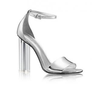 Louis Vuitton Silver Crystal Flower Sandals
