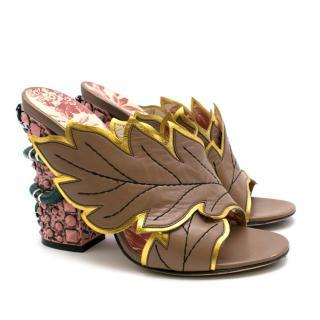Gucci Snake Heel Crossover Leaf Mules
