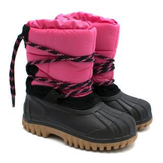 Moncler Kid's Girls Pink & Black Snow Boots