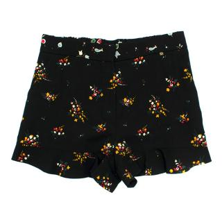 Louis Vuitton High Waist Black Floral Print Shorts