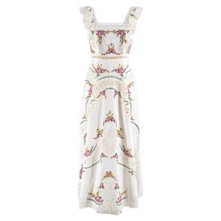Zimmermann Allia lace embroidered linen blend white Dress