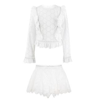 Zimmermann White Daisy Broderie Anglaise Top & Shorts