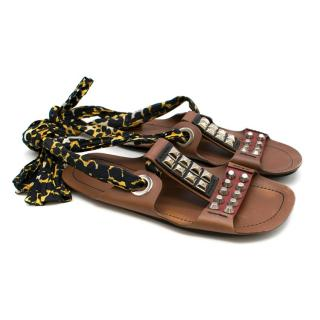 Prada Flat Brown Studded Leather Tie-up Sandals