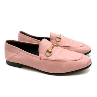 Gucci Pink Leather Classic Horsebit Flat Loafers