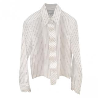 Chanel vintage white and green striped cotton shirt