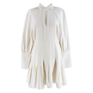 Ellery Ivory Keyhole Bust Pleated Mini Dress