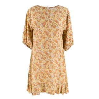 Faithfull The Brand Yellow Floral Mini Dress