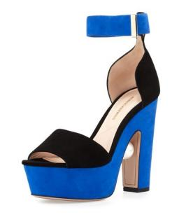 Nicholas Kirkwood Maya two-tone velvet platform sandals