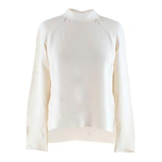 Alex Eagle Cream Long Sleeve Top With Neck Tie Detail