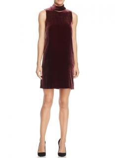 Theory Burgundy Velvet High Neck Sleeveless Dress